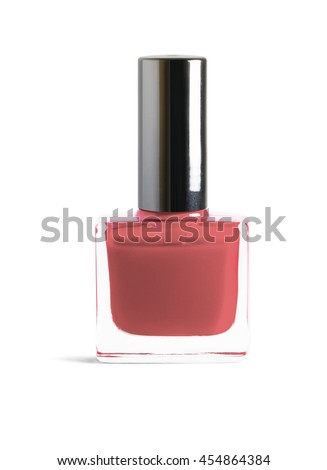 Orange coral color nail polish isolated on white background with clipping path