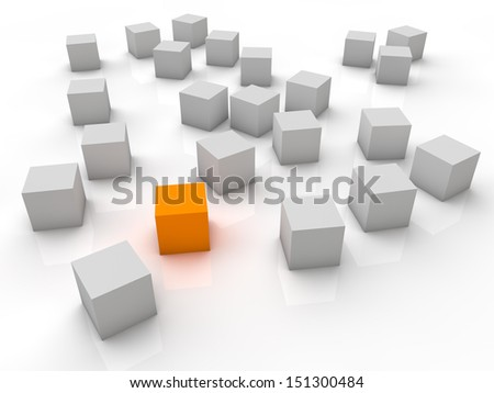 Orange cube on the ground with white cubes in the background