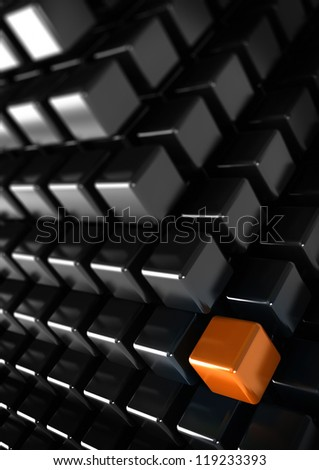 orange cube with many black cubes, unique or difference concept, vertical business background