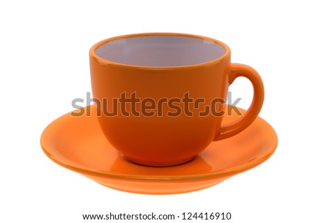 orange cup and saucer isolated on a white background - stock photo