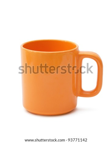 orange cup on a white background - stock photo