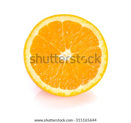 Orange cut  half on white background.