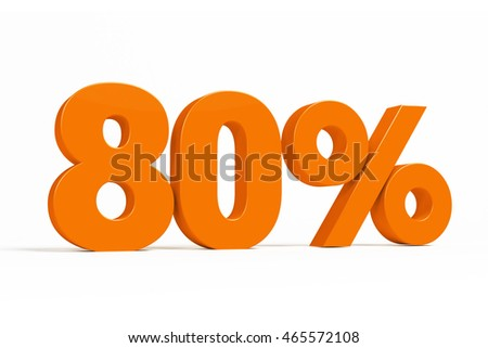 Orange 3d 80% percent text on white background for autumn sale campaigns. See whole set for other numbers.