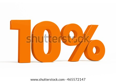 Orange 3d 10% percent text on white background for autumn sale campaigns. See whole set for other numbers.