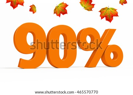 Orange 3d 90% percent text on white background with leaves for autumn sale campaigns. See whole set for other numbers.