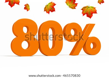 Orange 3d 80% percent text on white background with leaves for autumn sale campaigns. See whole set for other numbers.