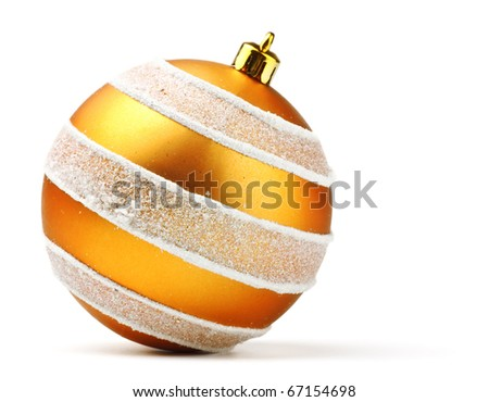 orange decoration ball isolated on white - stock photo