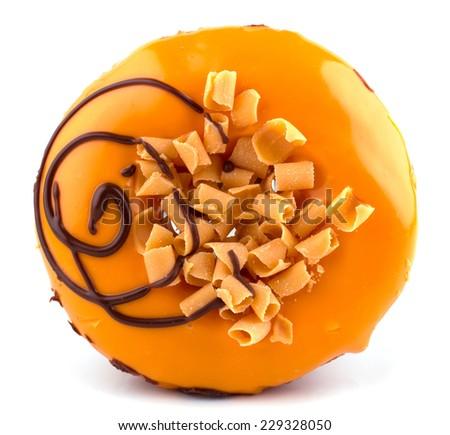 Orange donut isolated on white background cutout - stock photo