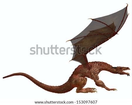 Orange Dragon - A creature of myth and fantasy the dragon is a fierce flying monster with horns and large teeth.