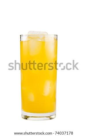 Orange drink isolated on white background - stock photo