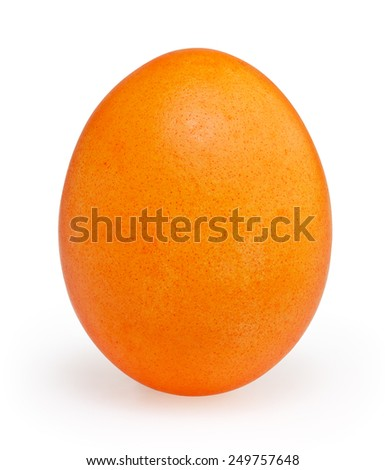 Orange easter egg isolated on white background with clipping path - stock photo