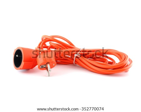 Orange electric cable isolated on white - stock photo