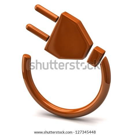 Orange electric plug icon - stock photo