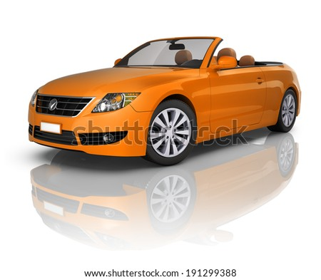Orange Elegant Convertible Car - stock photo