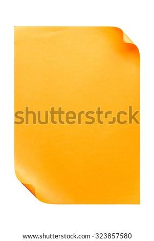 Orange empty A4 paper isolated on white background - stock photo