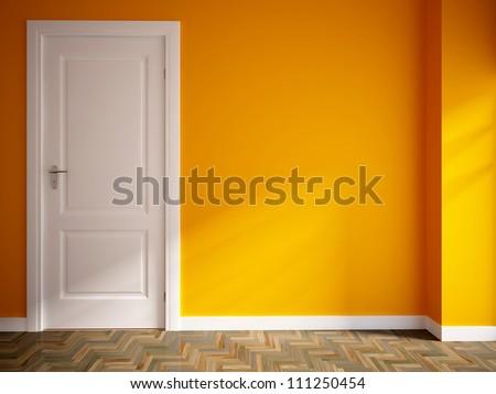 orange empty interior with a white door - stock photo