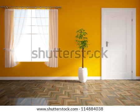 orange empty interior with a white door and green tree - stock photo