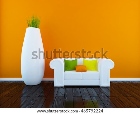 orange empty interior with a white sofa and huge vase. 3d illustration