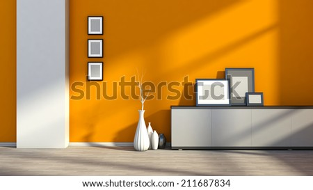 orange empty interior with white vases and blank picture - stock photo