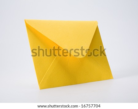Orange envelope on white background