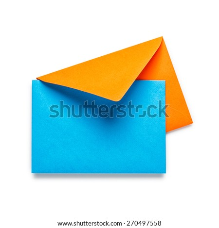 Orange envelope with blue card isolated on white background. Objects with clipping path - stock photo