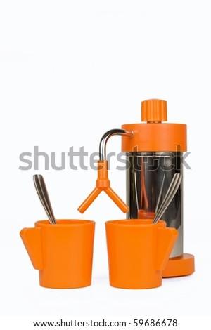 Orange espresso cafe machine from the 60s, 70s - stock photo
