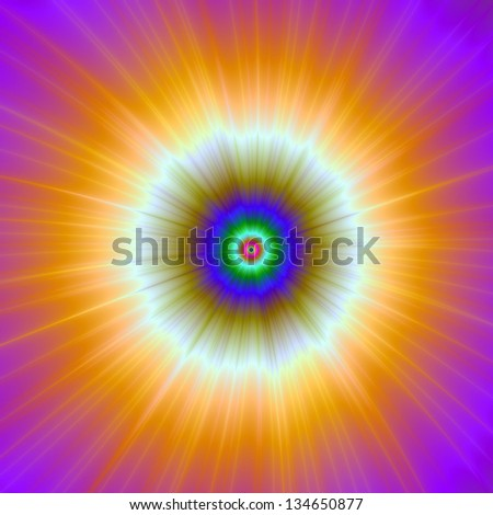 Orange Explosion of Color / Abstract fractal image with a color explosion design in orange, white, blue and green.