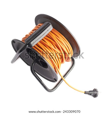 Orange extension cord on the black reel, composition isolated over the white background - stock photo