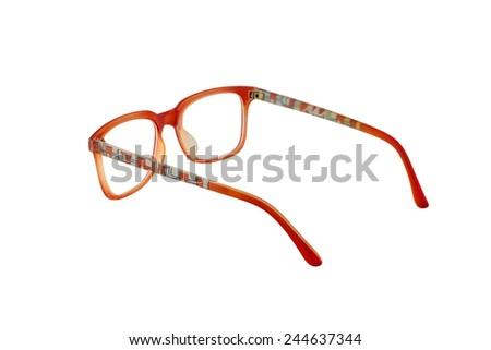 Orange eye glasses isolated on white background. - stock photo