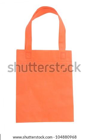 orange fabric bag isolated on white background - stock photo