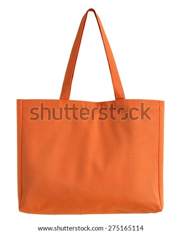 orange fabric bag isolated on white with clipping path - stock photo