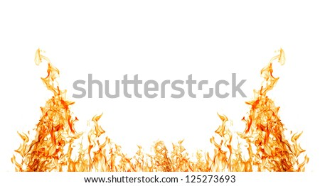 orange flame half frame isolated on white background