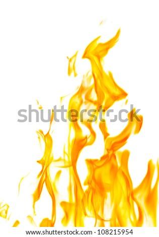 orange flame isolated on white background - stock photo