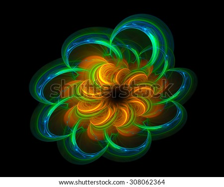 Orange Flower abstract illustration - stock photo