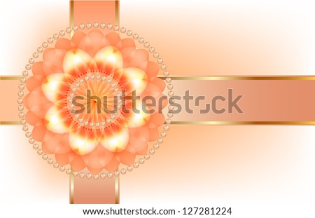 Orange flower with ribbon, holiday decoration gift envelope. Raster copy of vector image - stock photo