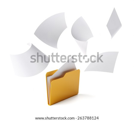 Orange folder with a documents isolated on white. - stock photo