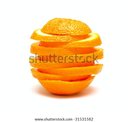 Orange from segments isolated on white - stock photo