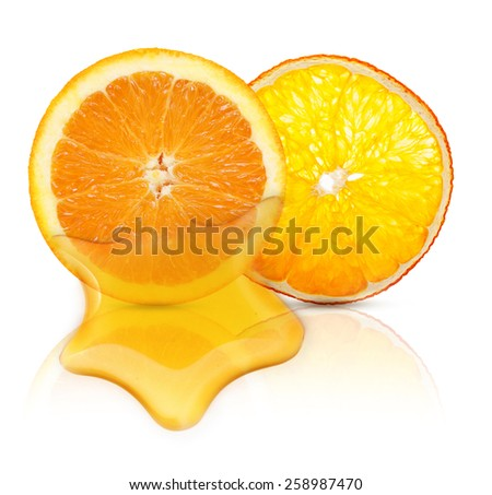 Orange fruit and essential oil isolated on white background.