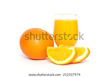 Orange fruit and juice isolated on a white background