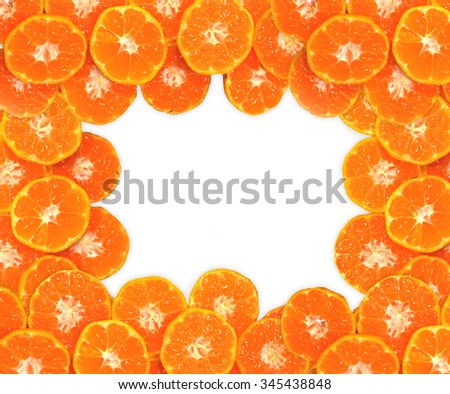 Orange fruit frame for texture, Isolated on white background - stock photo