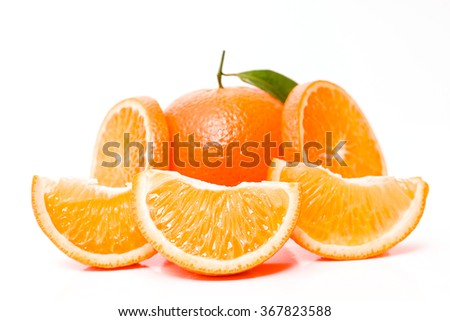Orange fruit. Fresh isolated on white citrus organic food. Juicy, ripe, sweet vegetarian slice. Yellow color. Half of tasty, healthy, tropical dessert. Natural diet, refreshing. Closeup background.