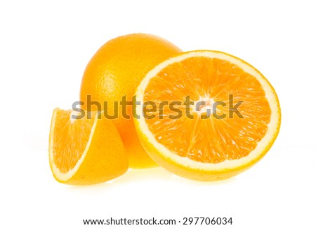 Orange fruit half and  segments or cantles isolated on white background