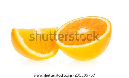 orange fruit half and slice isolated on write background