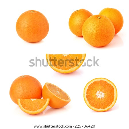 Orange fruit isolated on white - stock photo