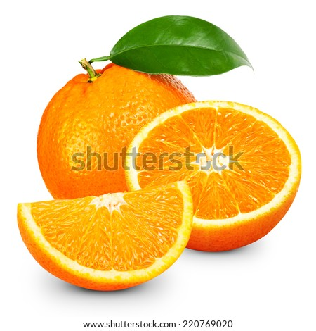 Orange fruit isolated on white background. - stock photo