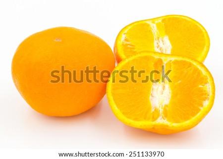 Orange fruit on white background - stock photo