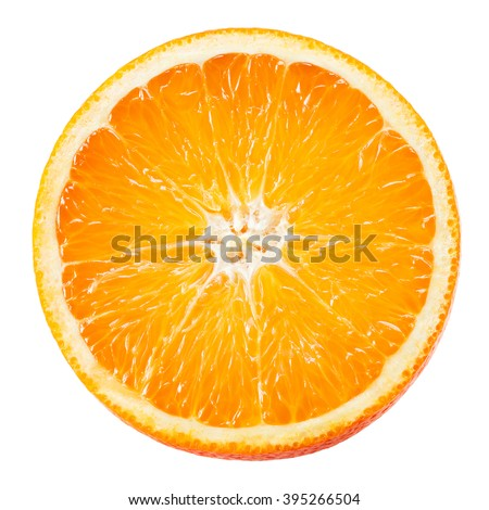 Orange fruit. Round slice isolated on white. Top view.