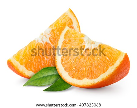 Orange fruit slice isolated on white. - stock photo