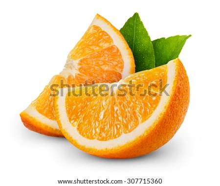 orange fruit slice isolated on white background  - stock photo