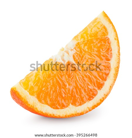 Orange fruit. Slice isolated on white. With clipping Path.